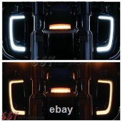 LED Running Light/Turn Signal Fairing Lower Grills for Harley Touring Road Glide