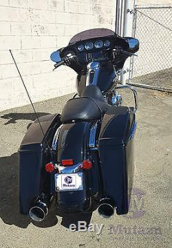 MUTAZU Matte Black Megaphone Slip-On Mufflers Exhaust 1995-2016 Harley Touring
