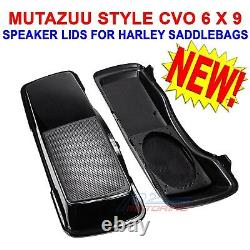 MUTAZUU STYLE CVO 6x9 SPEAKER LIDS BLACK FOR HARLEY TOURING SADDLEBAG 1998-2013