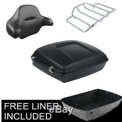 Matt Black Chopped Tour Pak Pack Trunk Luggage Rack & Backrest For Harley 14-19
