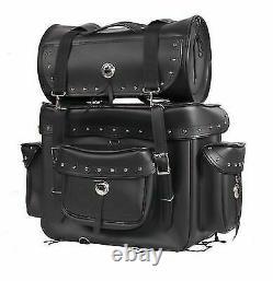 Motorcycle Sissy Bar Bag Touring Luggage withStuds 2 Piece Bag Set Harley Cruiser