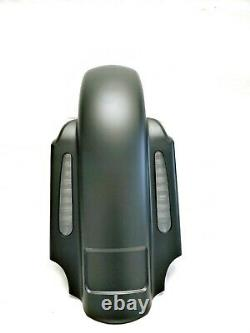 Mutazu Matte Black CVO 4 Extended Rear Fender w LED for 93-08 Harley Touring