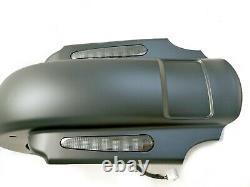 Mutazu Matte CVO 4 Extended Fender with LED + Saddlebags for 93-08 Harley Touring