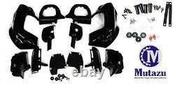 Mutazu Vivid Black Lower Vented Fairing with Mounting Kit for Harley Touring