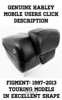 OEM Harley Davidson Black Leather Road King Tour Pack Touring Pak Trunk FLHR