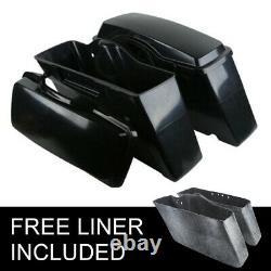 Set Unpainted Black Hard Saddle bags Saddlebags for Harley HD Touring 1994-2013