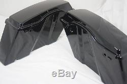 Set Unpainted Raw Black Touring Hard Saddle bags Saddlebags for Harley 1994-2013