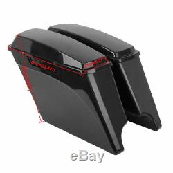 US 5 Stretched Extended Hard Saddle Bags For Harley Touring Road King 1993-2013