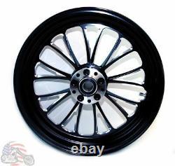 Ultima Manhattan Black Billet Aluminum 18 3.5 Rear Wheel Harley Touring Softail