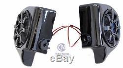 VIVID BLACK 6.5 SPEAKER PODS WithSPEAKERS 4 HARLEY TOURING VENTED LOWER FAIRING
