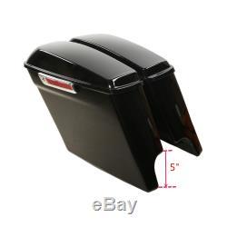 Vivid Black 5 Stretched Saddlebags with Keys Fit For Harley Touring Models 14-19
