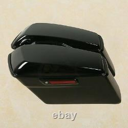 Vivid Black Hard Saddle Bags with Black Latch Fit For Harley Touring Models 14-20