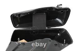 Vivid Black Hard Saddle Bags with Black Latch For Harley Touring Models 2014-2020