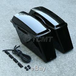 Vivid Black Hard Saddlebags Saddle Bag For Harley Softail Dyna Sportster Touring