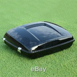 Vivid Black Razor Pack Trunk For Harley Tour Pak Road King Electra Glide 2014-19