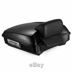 Vivid Black Razor Tour Pack Pak Backrest Trunk For 97-19 Harley Davidson Touring